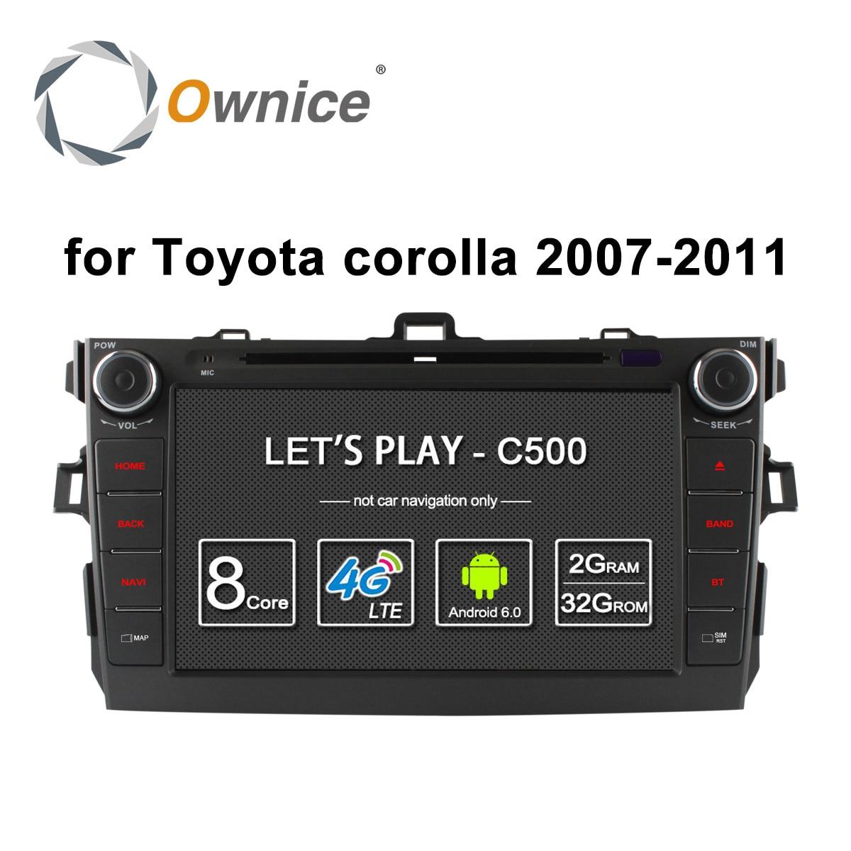 Ownice C500 Android 6,0 Octa 8 Core 2G RAM Автомобильный dvd плеер для Toyota corolla 2007 - 2011 in dash 2 din gps navi 4G LTE сеть