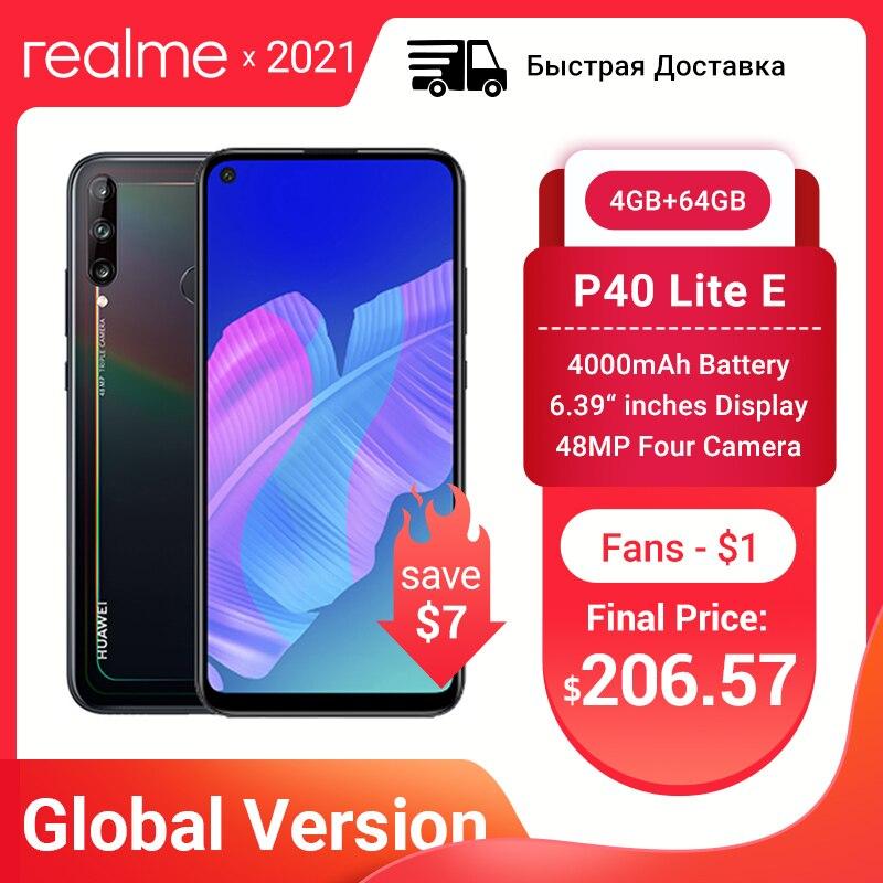 Перейти на Алиэкспресс и купить Глобальная версия Huawei P40 lite E 4GB 64GB смартфон 48MP AI камеры 6,39 дюймFHD экран Kirin 710 Octa Core Быстрая доставка