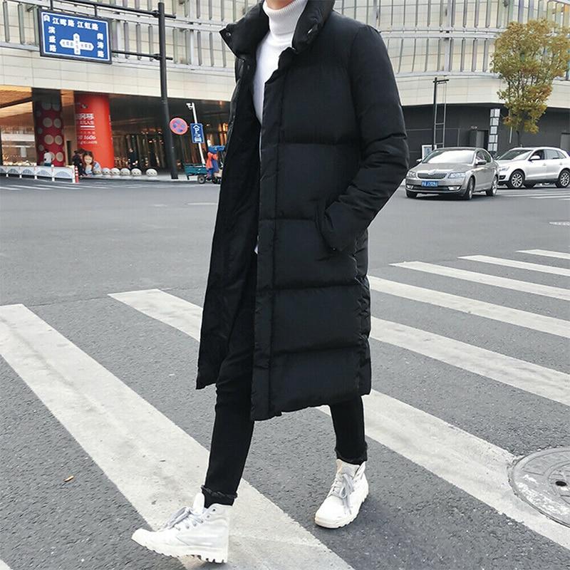 Мужская стеганая длинная куртка, черная парка, толстая стеганая куртка, Длинная ветровка, зима 2019