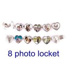 DIY memoria Flash 8 foto colgante joyería plata antigua 4 colores alas de Ángel corazón medallón collar moda mujer romántica joyería