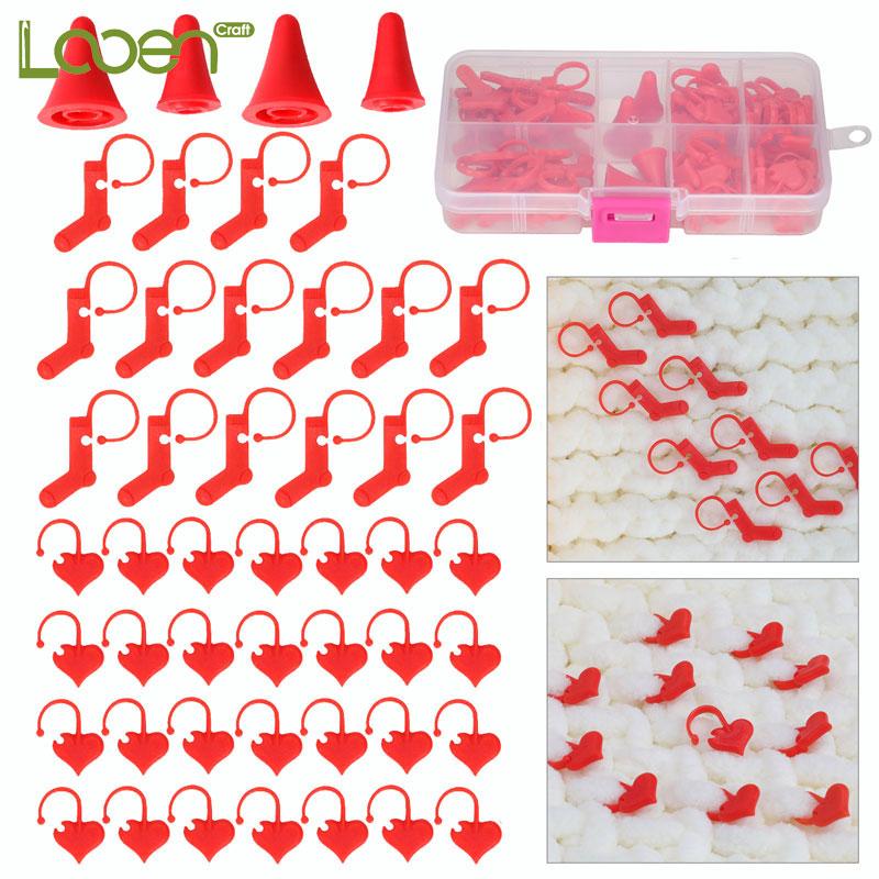 Looen 88 unids/lote de puntadas de bloqueo agujas de tejer DIY arte de tejer Crochet titular rojo de plástico accesorios para herramientas de costura