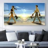 Toile de peinture a lhuile pour les amoureux de la plage  art de la marche  salon  couloir  bureau  decoration murale de la maison