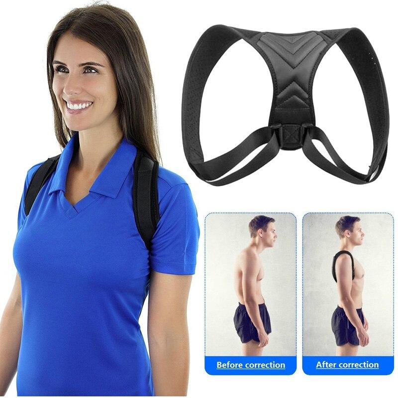 Dropshipping Corrector de postura de espalda ajustable clavícula espalda hombro apoyo lumbar cinturón corrección de postura