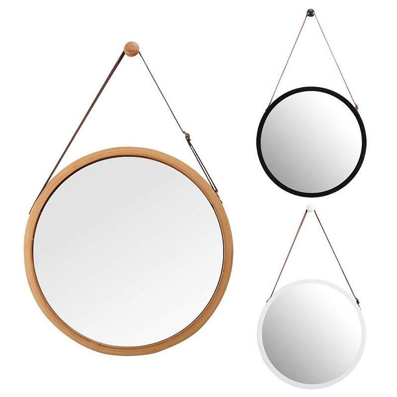 مرآة حائطية مستديرة معلقة في الحمام وغرفة النوم-إطار من الخيزران الصلب وحزام من الجلد قابل للتعديل