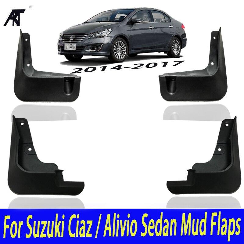 Car Molded Mud Flaps For Suzuki Ciaz / Alivio Sedan 2014-2017 Sport Mudflaps Splash Guards Mud Flap Mudguards Fender 2015 2016