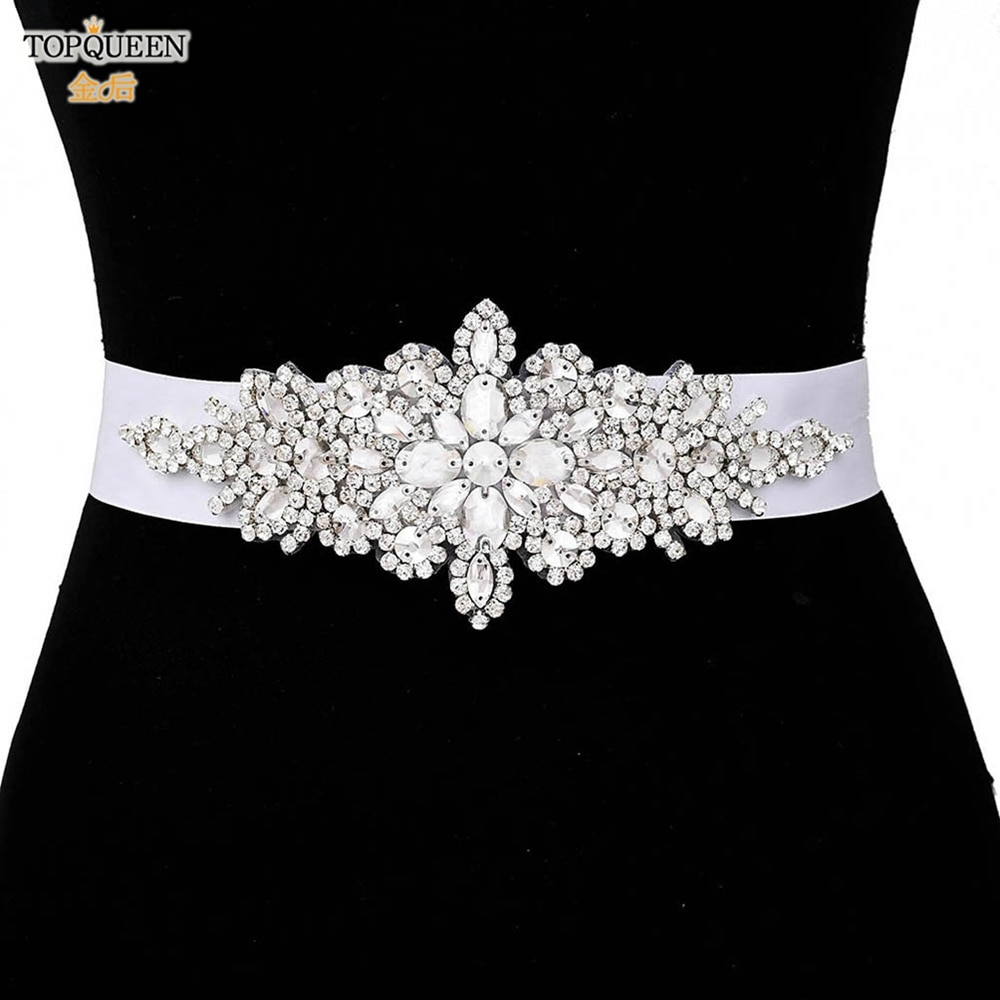 TOPQUEEN S01 Luxury Silver Rhinestone Wedding Belts Girdles for Dress Female Accessories Bridesmaid Women Dress Sequin Belt