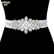 TOPQUEEN-cinturones de boda de lujo con diamantes de imitación para mujer, fajas para vestido femenino, accesorios para dama de honor, cinturón de lentejuelas para novia, S01