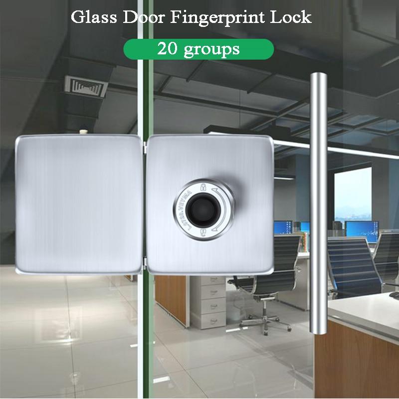 Cerradura de puerta biométrica con huella dactilar, cerradura de puerta de vidrio sin llave, cerradura eléctrica con batería USB para tienda/oficina/tienda