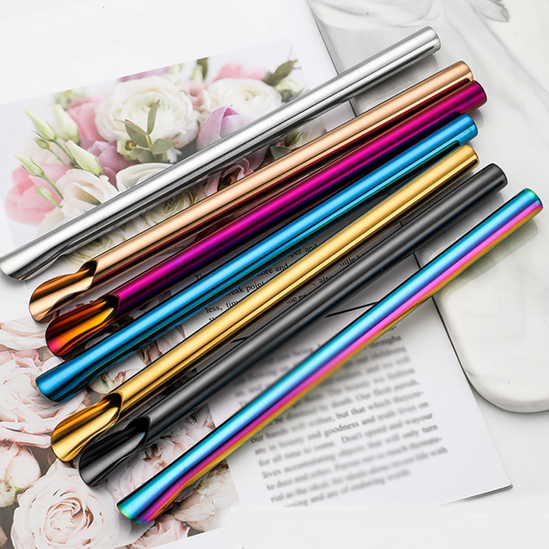 Smooth Stirring Spoon Multifunction Convenient Creative Stainless Steel Straw Durability Portable Reusable Drinking