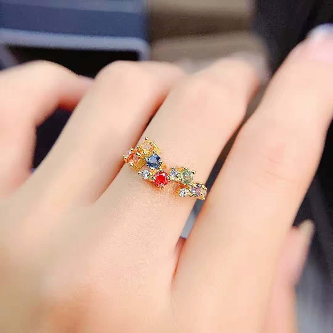 Fashion Colored Sapphire S925 Sterling Silver Fancy Women's Ring Fine Charming Weddings Jewelry MeiBaPJFS