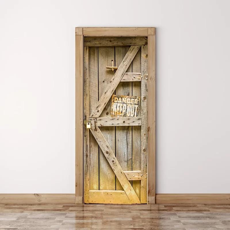 Самоклеющиеся обновленные домашний Декор 3d печать деревянная дверь стикер искусство водостойкие обои-фреска шкаф Ремонт Наклейка картинк...