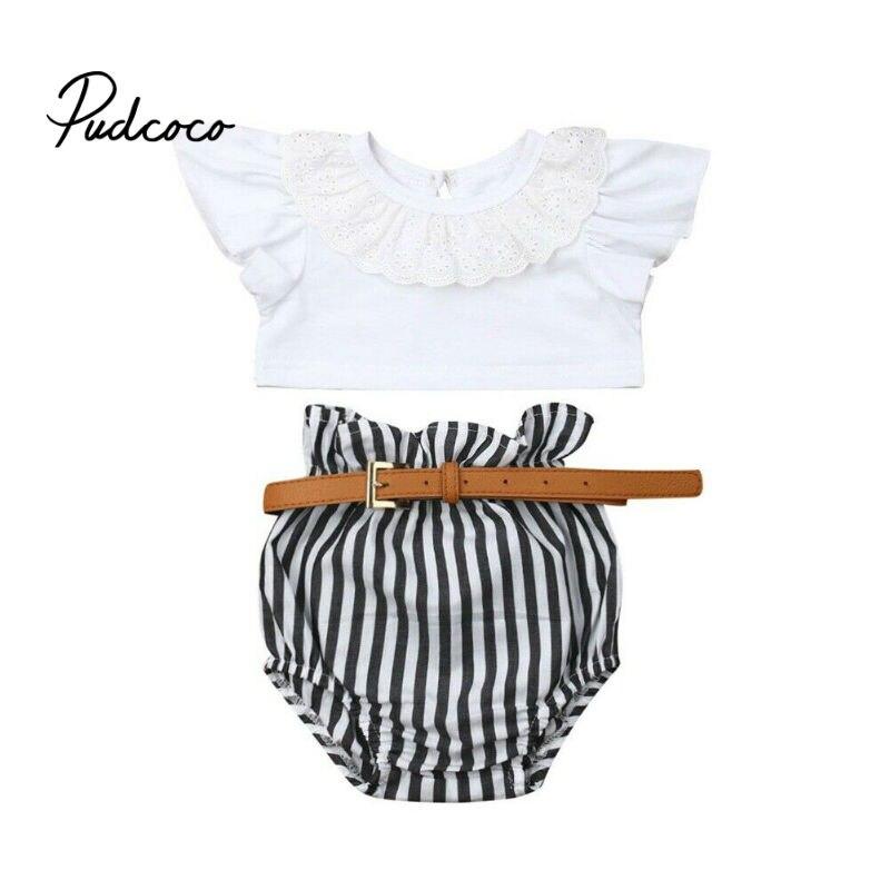 Trajes para niñas 2019 verano estilo niños manga corta Crop Tops + Pantalones cortos a rayas + cinturón niños cuello redondo ropa traje con cinturón 3 piezas