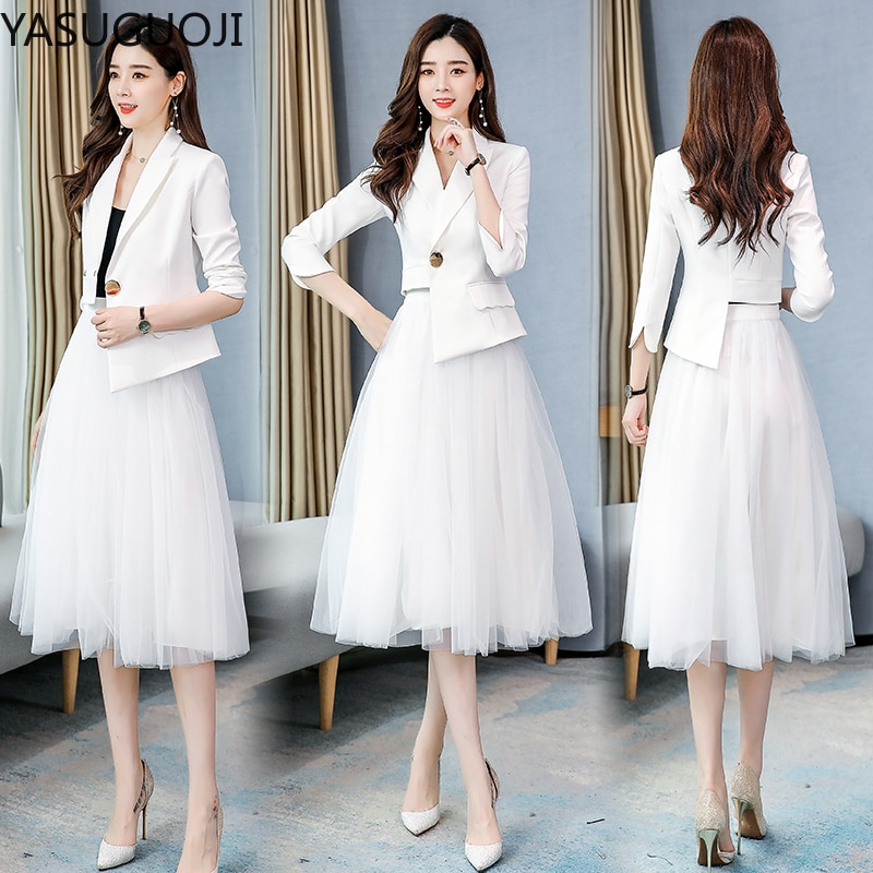 سترة جديدة من YASUGUOJI موضة 2021 غير منتظمة مع طقم بدلة تنورة شبكي للسيدات طقم تنورة رسمية للنساء