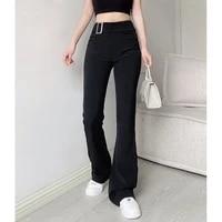 women trouser suits high waisted pants women fashion office beige pants chic button zip elegant black casual woman pants