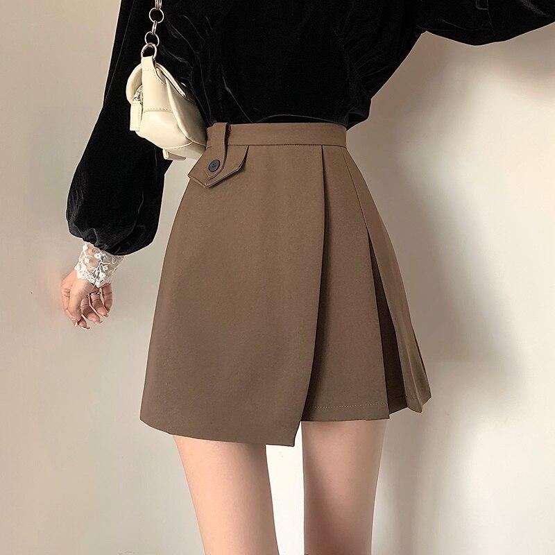 Half Length Skirt Women's Autumn Korean 2021 New Irregular Fold Design High Waist Thin Anti Light A-