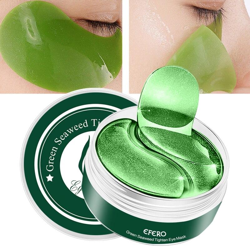 60 pçs/caixa colágeno máscara de olho de algas removedor círculos escuros sob gel olho remendos anti-inchaço anti-envelhecimento hidratante cuidados com os olhos