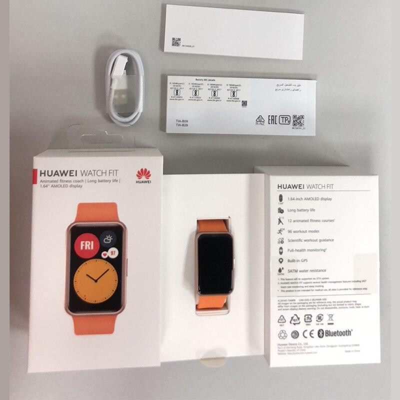 Global Version HUAWEI Watch FIT Smart Watch Quick-Workout Animations Blood Oxygen WatchFIT 10 Days Battery Life  CODE:EOSSAFF7