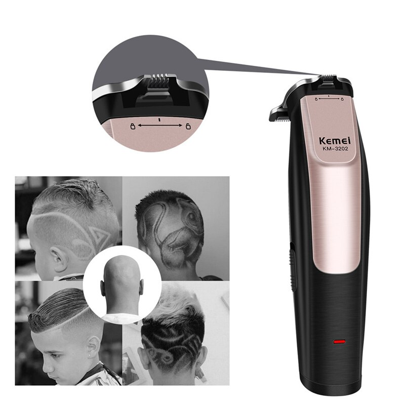 Cortadora de pelo Kemei recargable por USB detalle de la barba recortadora de pelo cortadora de pelo eléctrica corte de pelo borde t-wide Blade