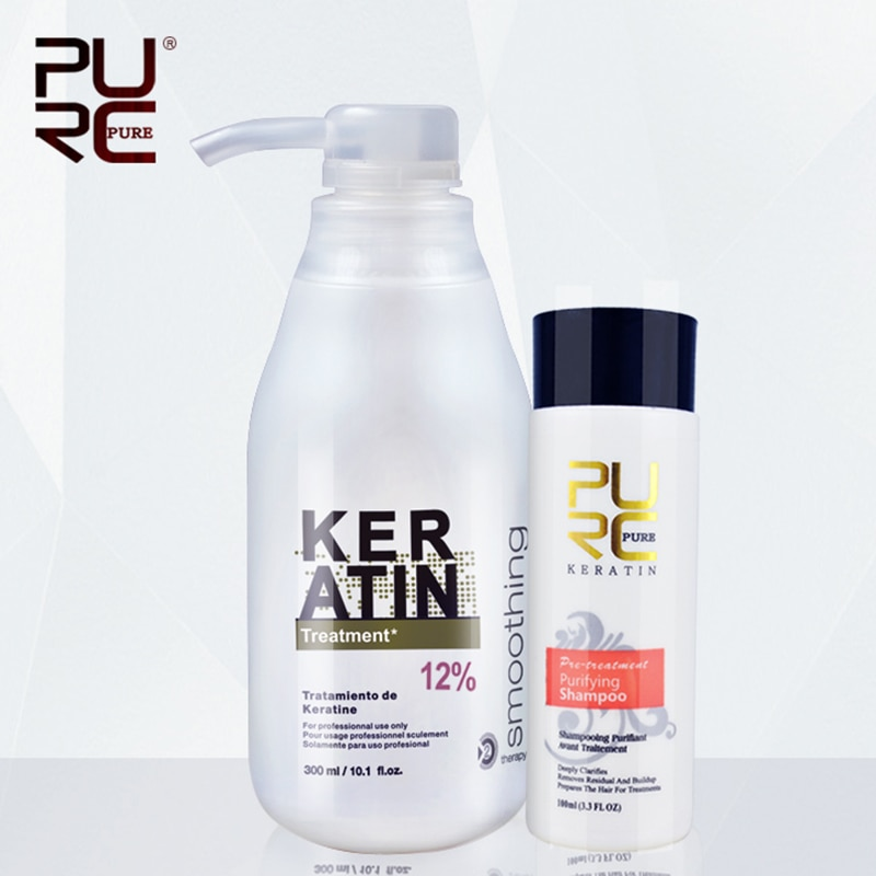 11.11 PURC Brazilian keratin 12% formalin 300ml keratin treatment&100ml purifying shampoo  hair straightening hair treatment set недорого