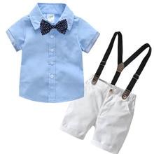 Ensemble de vêtements pour garçons   Chemise bleue, avec nœud papillon + bretelles, tenue de soirée, tenue dété, pour garçons en bas âge