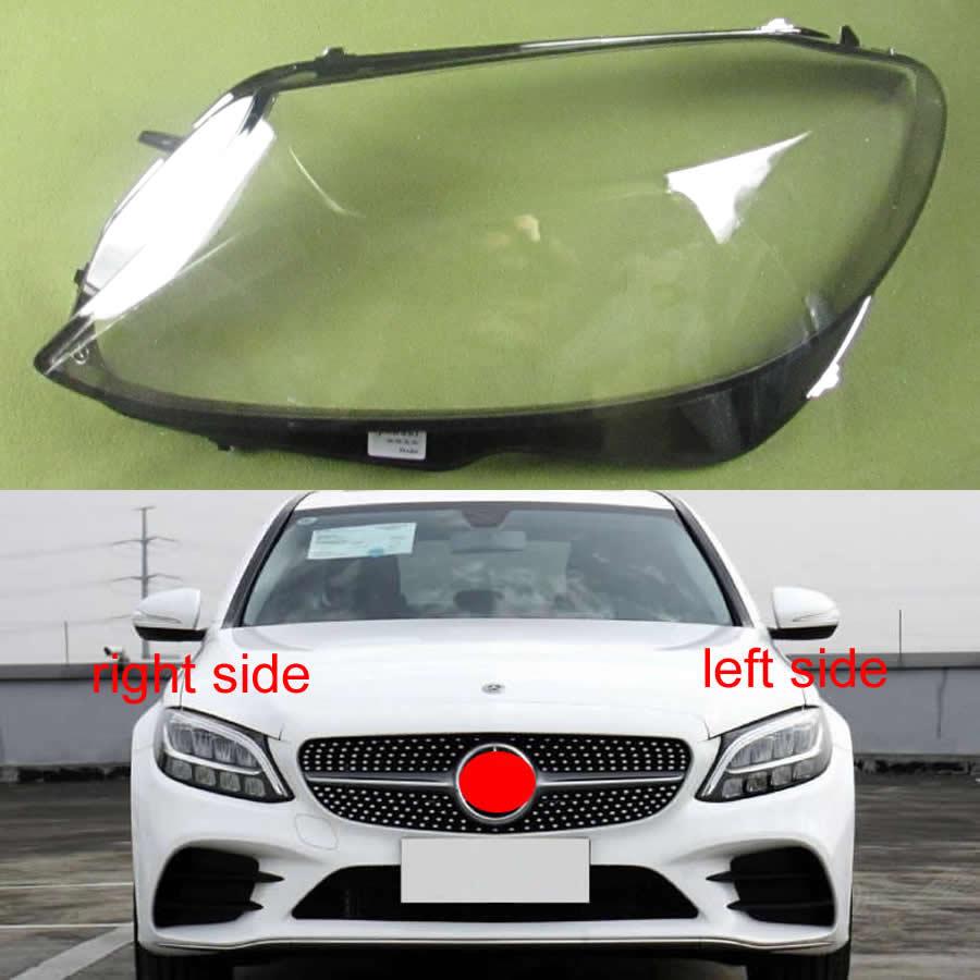 Para 2019 Mercedes Benz W205 C180 C200 C260L C280 C300 pantallas de lámpara faros pantalla transparente carcasa de faro