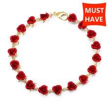 Bracelet romantique de chaîne de lien de couleur dor Rose chaude de poussette avec lémail rouge fabrication de bijoux de Rose pour des femmes cadeau livraison gratuite