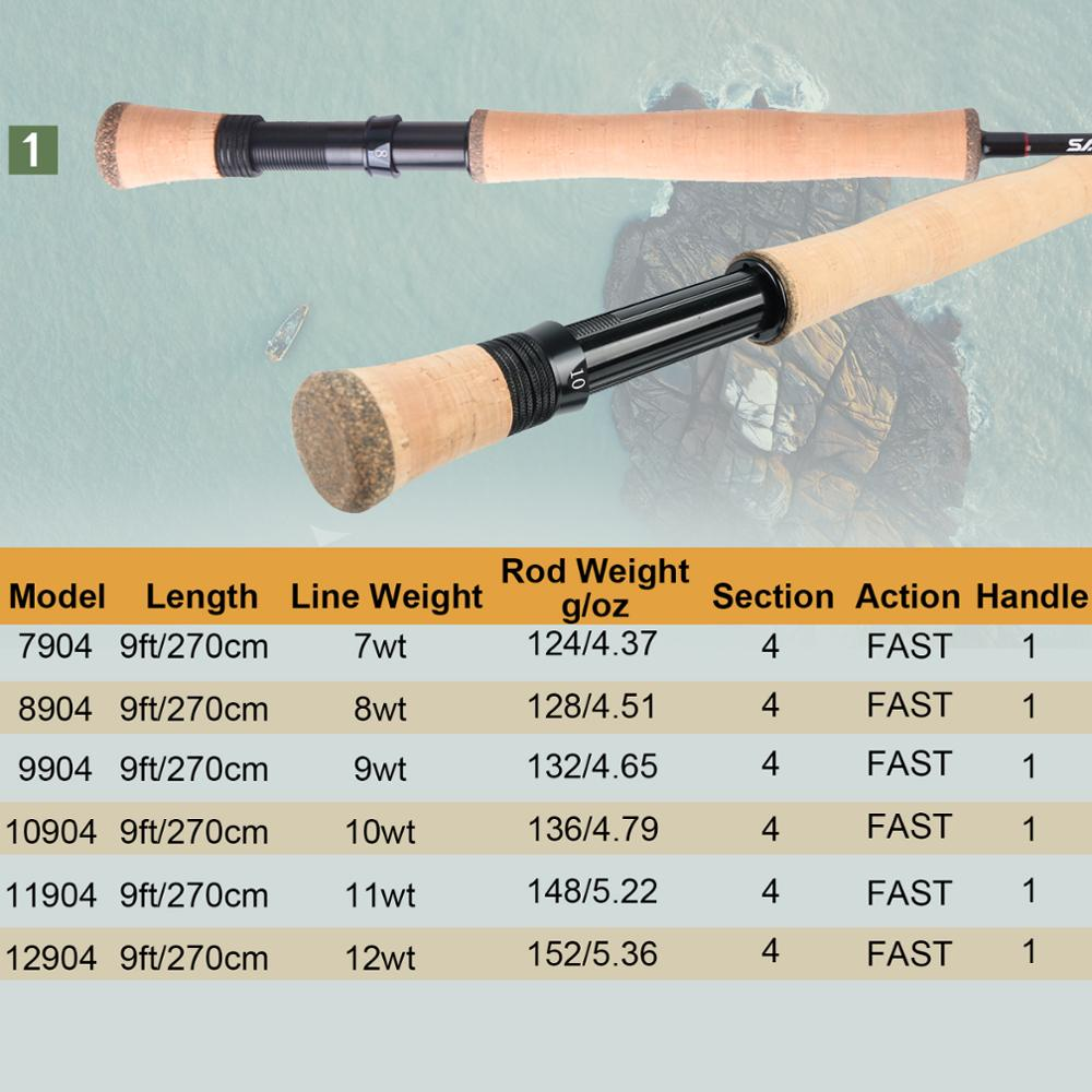 Maximumcatch Saltpro Saltwater Fly Rod Fast Action 30T+40T SK Carbo Fly Fishing Rod With Cordura Tube 8/9/10WT 9FT 4SEC enlarge