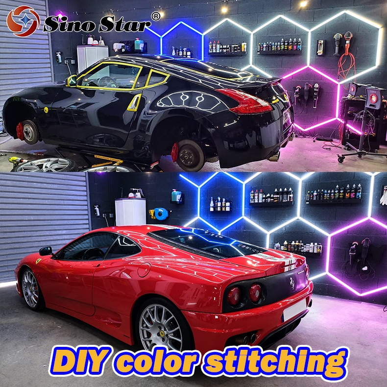 STC202 New Design Pink/Yellow/Blue Tube Can be Customized Car Beauty Lamp Auto Detailing Hexagon Led Light for Car Repair Room