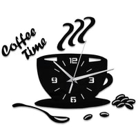creative diy acrylic mirror wall clock simple home decoration mute coffee cup wall stickers quartz clocks