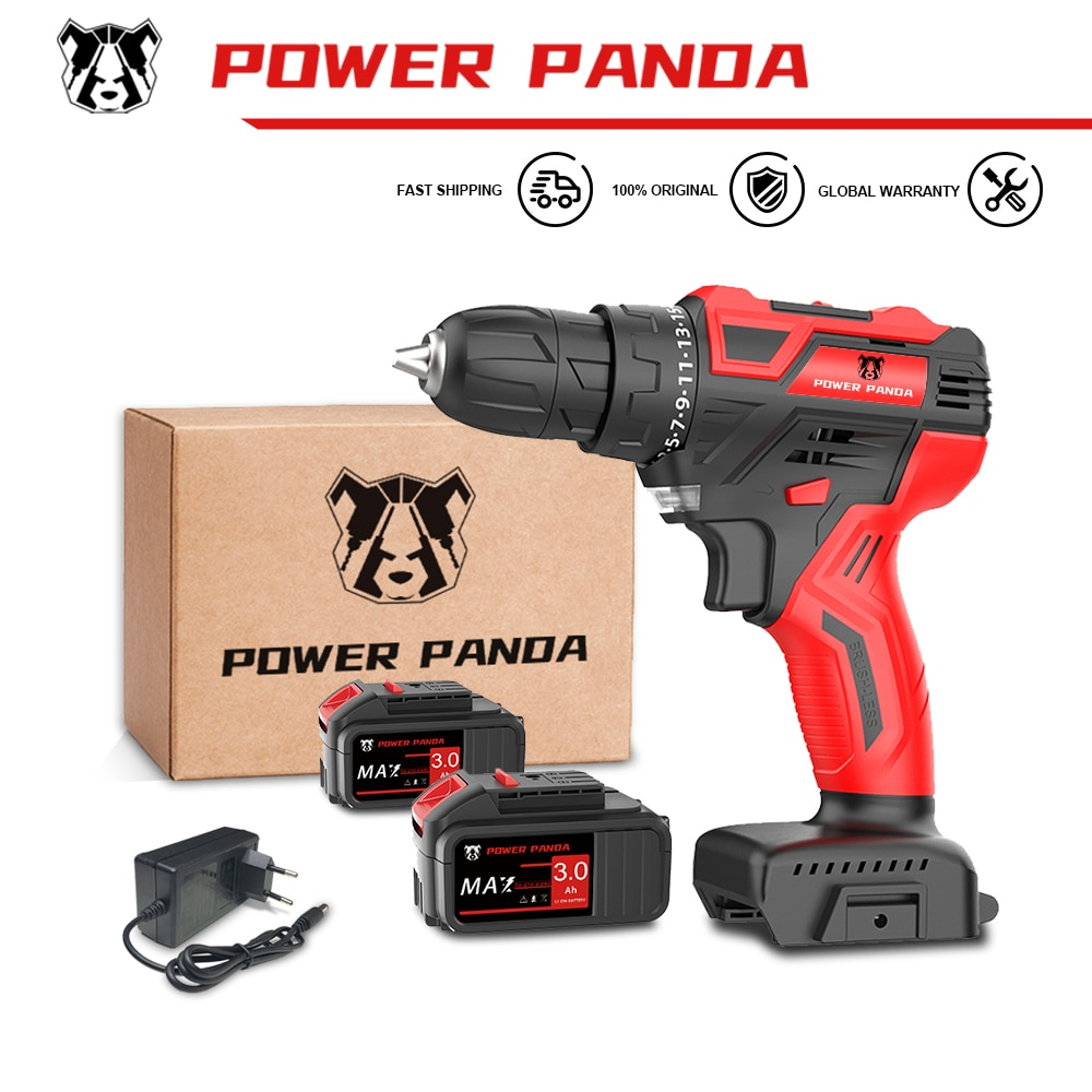 PowerPanda 21V Cordless Drill Driver Screwdriver Mini Wireless Power Driver DC Lithium-Ion Battery 25+1 Settings