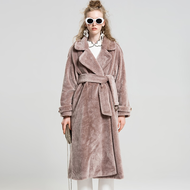 Winter Solid Fashion Wool Coats for Women Casual Long Eco-friendly Fur Dusty Coffee Overcoats Sashes Pockets Warm Thick Jackets
