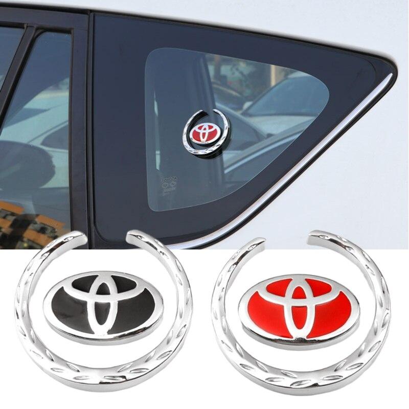 Estilo do carro Janela Lateral Decalque Emblema Etiqueta para o Logotipo Toyota Camry Corolla Yaris CHR Auris Avensis Hilux Supra Rav4 Acessórios