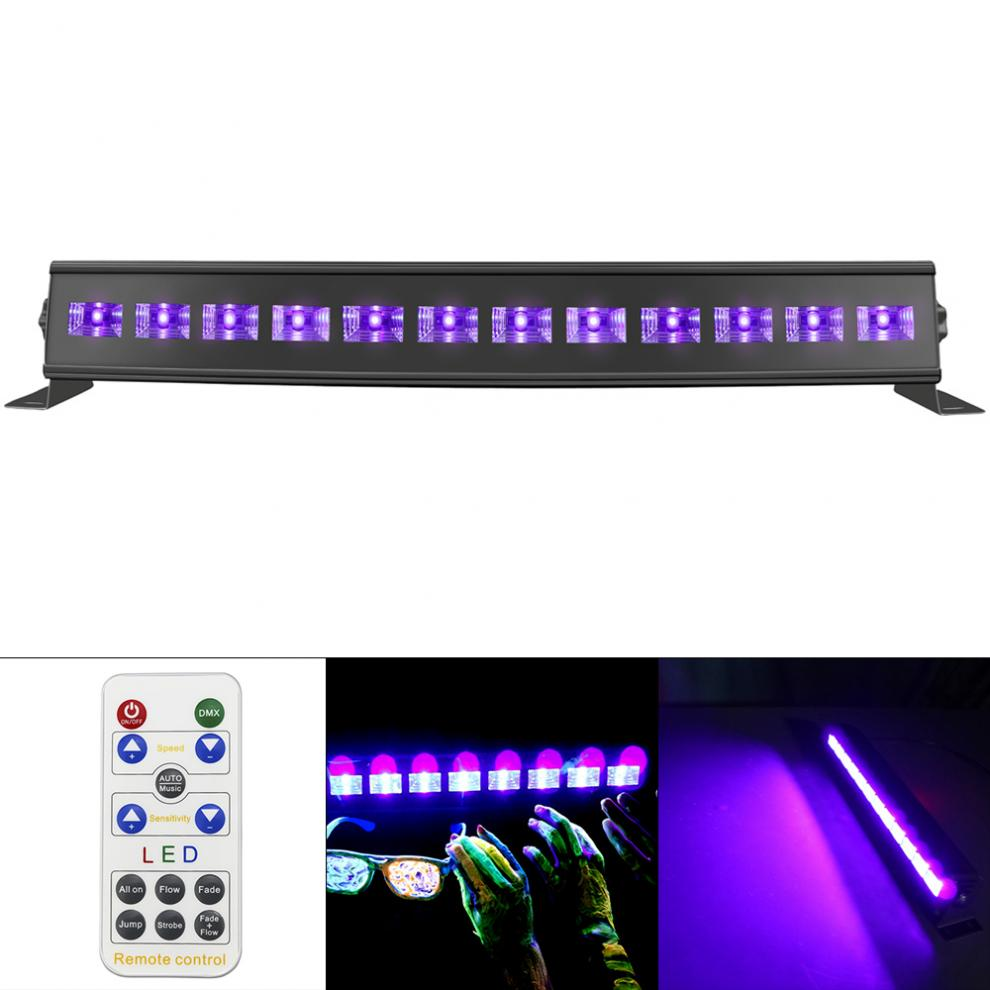 UV Violet Black Lights  12 LED 36W Remote Control with Voice Control / Self-propelled / DMX 512 for Christmas Party / Bar Hot