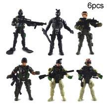 Haute qualité 6 pièces/ensemble Force militaire armée solide modèle dassemblage Mini figurines daction enfants jouet pour les enfants