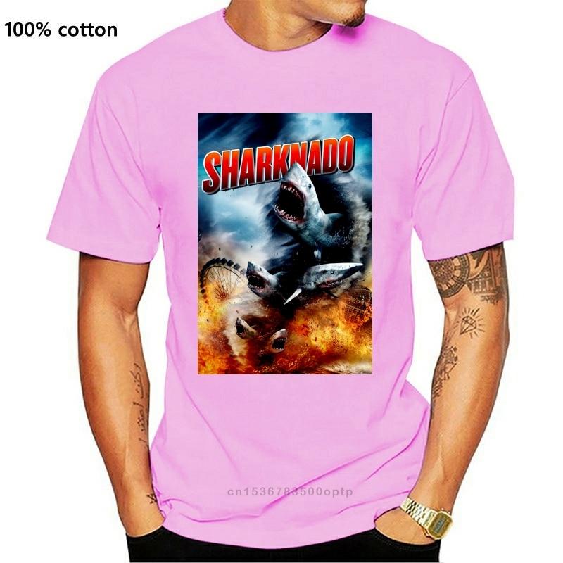 Sharknado Horror Science Fiction Film czarny mężczyzna T Shirt Tee (projekt 2)