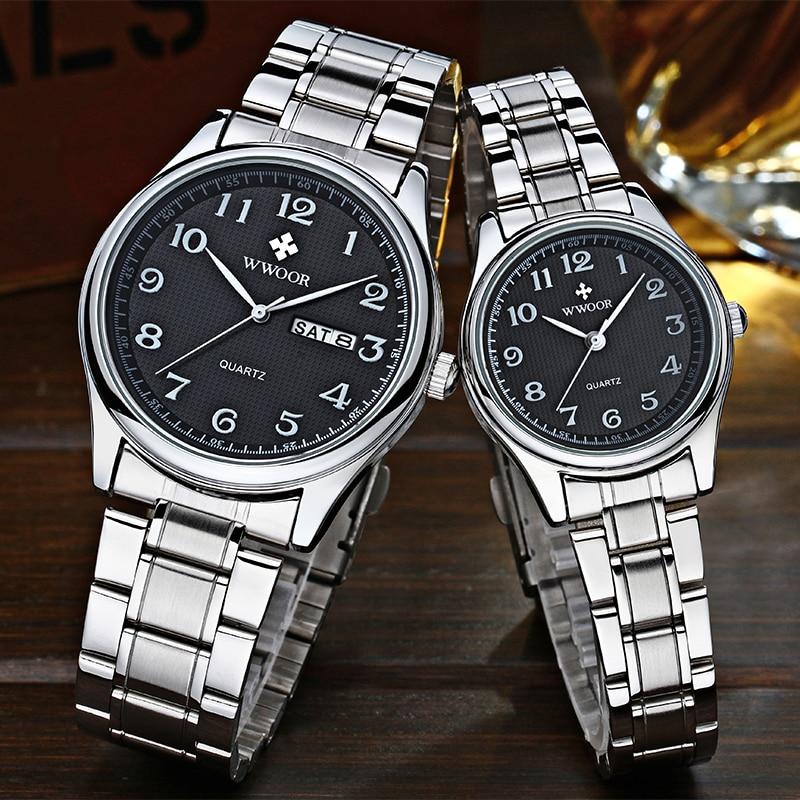 WWOOR Hot Fashion Lovers Watches Men Women Business Waterproof Clock Silver Steel Mens Watches Casua