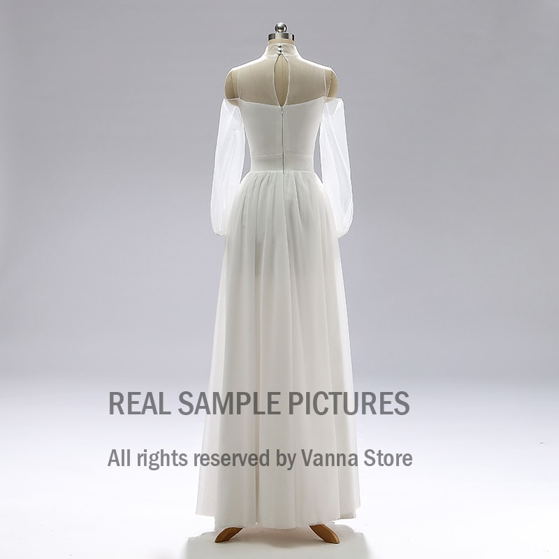 Tulle Long Sleeve Boho Wedding Shoot Dresses Pageant Beach Cold Shoulder High Neck Custom Made Bride Bridesmaid Gown Cheap #2000