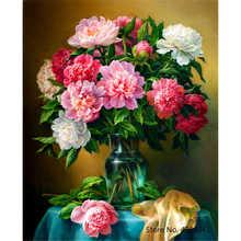 YANXIN-peinture à la main avec numéros   Cadre, fleurs, Kits pour images complètes, peinture acrylique sur toile, photos décoratives de maison, RSB8169