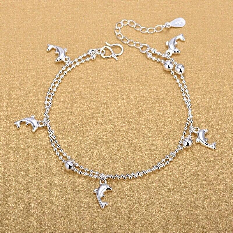 Tobillera Delfín de doble capa de plata de moda minimalista para mujer, joyería de plata 925, pulsera con abalorio, regalo 2020
