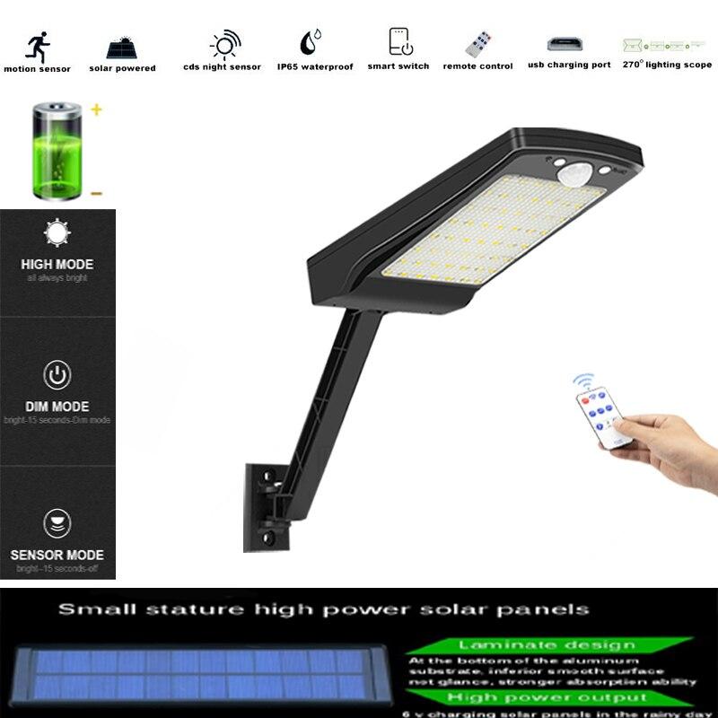 56 Led Solar Light Outdoor Waterproof Lampara Decorat Garden Solar wall Lamp Solar Power PIR Motion Sensor Wall Light