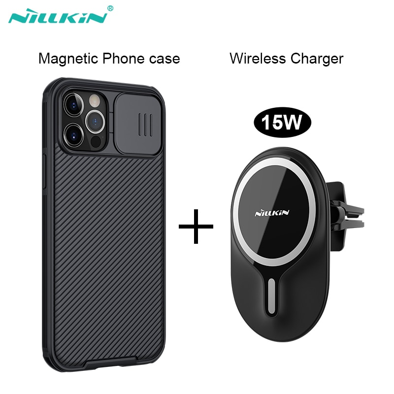 caso magnetico para o iphone 12 pro max nillkin 15w magnetico sem fio carregador