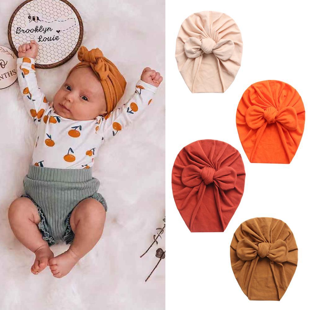 AliExpress - Solid Baby Cotton Beanies Cute Bear Ear Bowknot Turban Hats Sweet Soft 0-4T Elastic Caps for Newborn Baby Boy Girls Headwraps