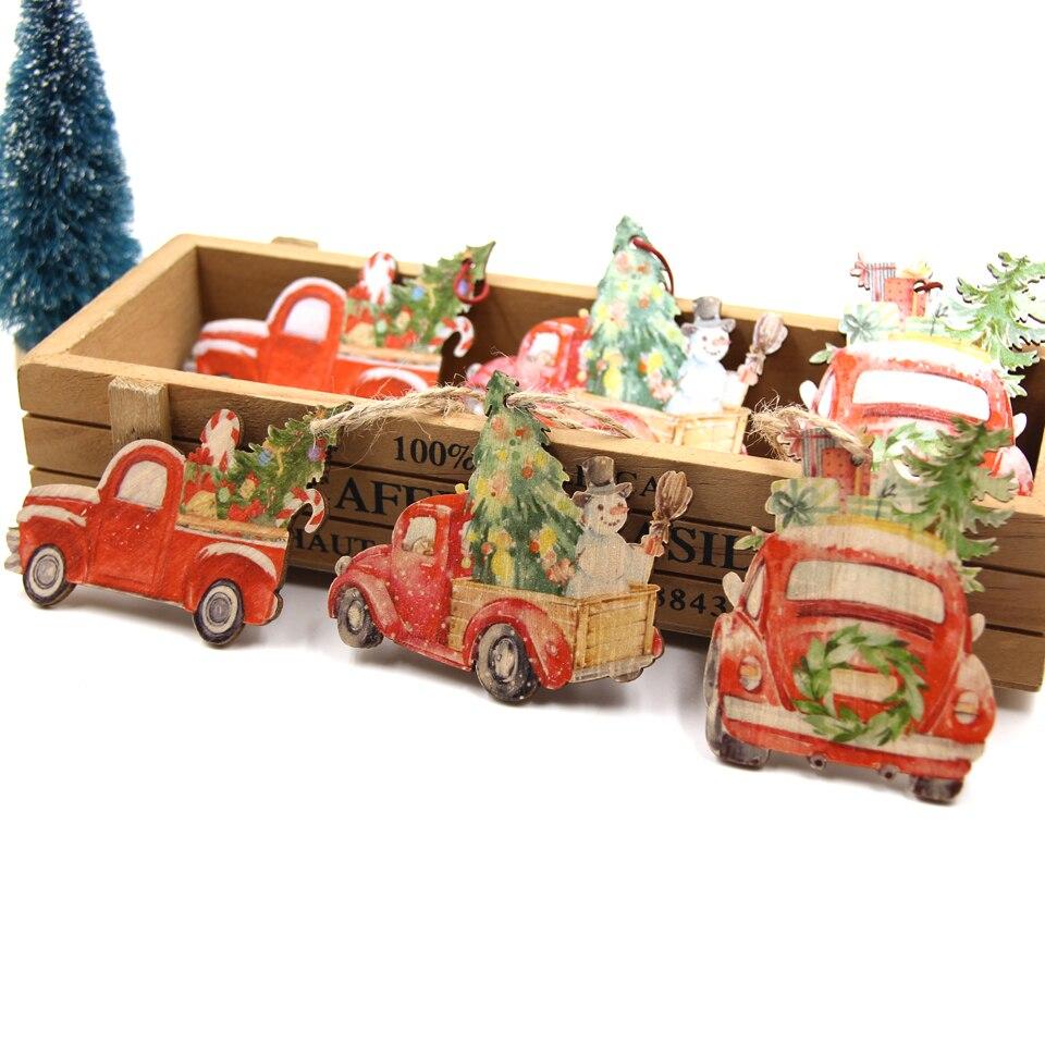 3 pçs criativo do vintage de madeira pingente de carro ornamento diy brinquedos artesanato de madeira para o natal festa em casa decoração crianças presentes suprimentos