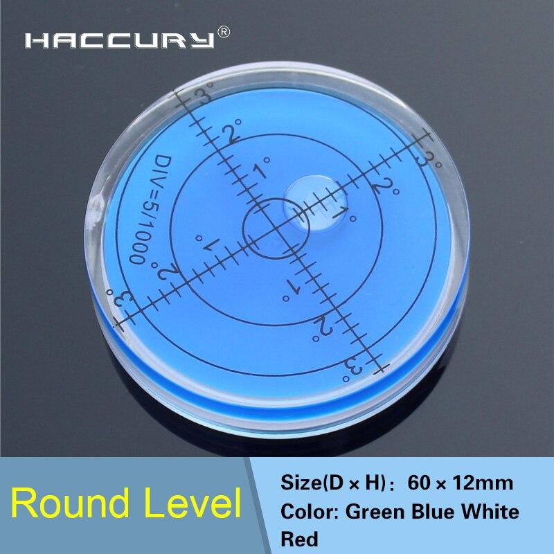 HACCURY 60*12mm Circular nivel de burbuja ronda nivel de burbuja Universal transportador
