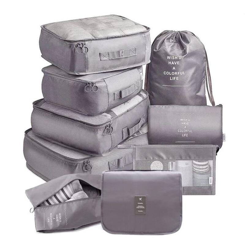 Дорожная сумка для хранения для классификации одежды, 9 шт./компл., сумка-органайзер для обуви, нижнего белья, туалетных принадлежностей, дор...