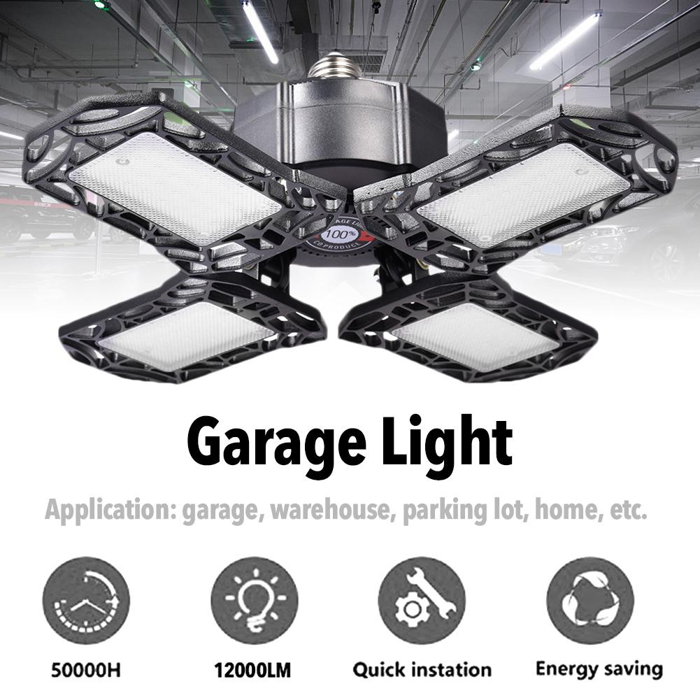 4-Blade LED Garage Light 360 Degrees Deformable Ceiling Light 120W Home Warehouse Workshop Folding Three-Leaf Deformation Lamp