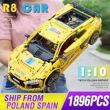 MOC Technic série Audis R8 V10 vitesse voiture RS5 modèle Compatible lepining 4463 blocs de construction briques enfants noël cadeau jouets 1660