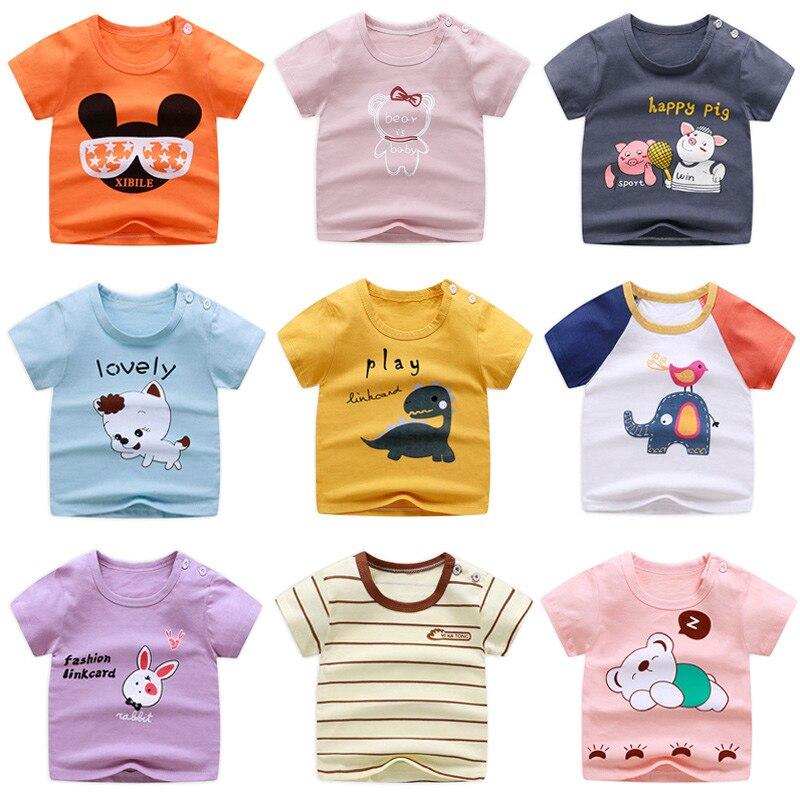 0-6 Y Unisex, camiseta de verano para bebés, camisetas con estampado de dibujos animados, camisetas casuales para niños, ropa de algodón, camiseta para niñas, ropa para niños