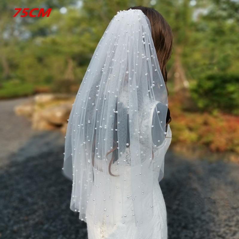 Реальные фотографии белые слоновая кость Длинные перламутровая вуаль с Фата невесты на гребне Соборная свадебная вуаль с жемчугом свадебн...