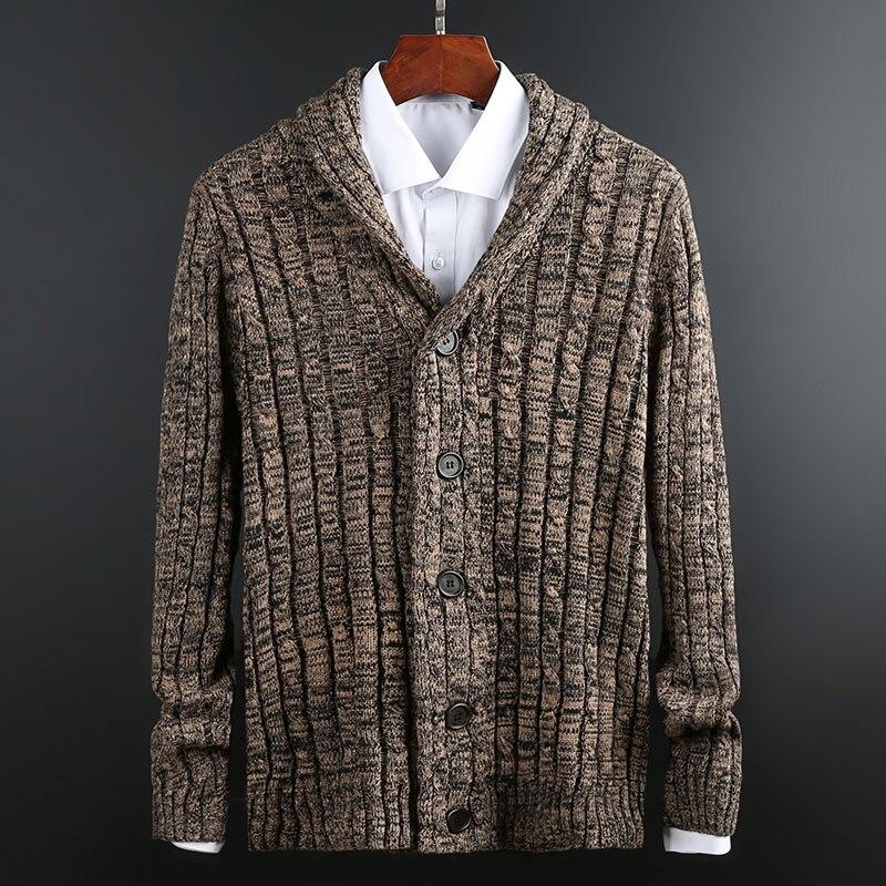 Новинка 2020, модные брендовые свитера, мужской кардиган, плотные облегающие вязаные Джемперы, Высококачественная зимняя повседневная мужск...